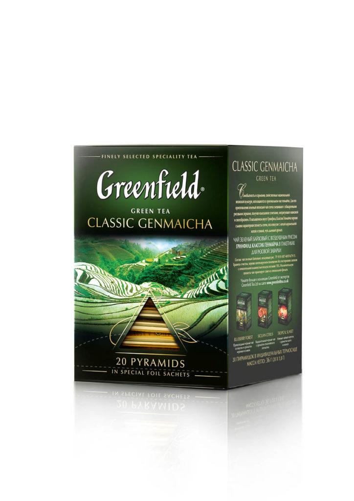Greenfield - Thé vert aromatisé Classic Genmaicha - 20 pyramides