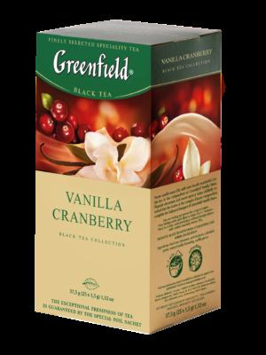 Greenfield – thé noir aromatisé Vanilla Cranberry – 25 sachets