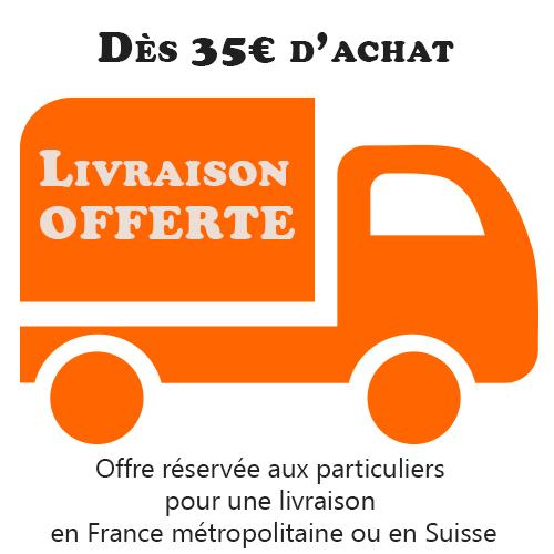 Livraison offerte pour les particuliers résidant en France métropolitaine ou en Suisse à partir de 35 € d'achat.